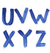 Alfabeto manuscrito de aquarela azul — Vetorial Stock