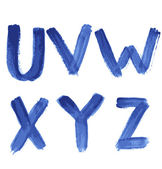 Handwritten blue watercolor alphabet — 图库矢量图片