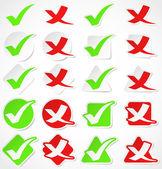 Vector check mark stickers — Stock Vector