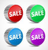 Set of colorful 3d vector sale labels. — Stock Vector