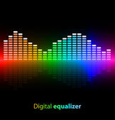 Colorful digital equalizer on black background — Stock Vector