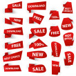 Royalty-Free Stock Vector Image: Set of red origami paper banners and stickers