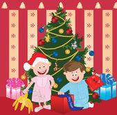 Natal crianças dos desenhos animados — Vetorial Stock