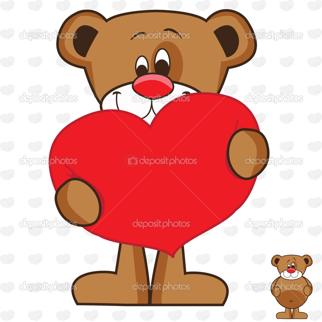 Cute and funny teddy bear with red heart. — Stock Vector #9013358