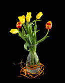 Bouquet of yellow and red tulips in a glass vase on a black background — Stock Photo