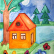 Watercolors painted house — Stock Photo