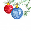 Christmas card with balls — Stockfoto