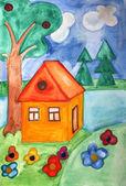 акварели окрашены дом — Стоковое фото