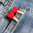Hearts clip on pocket jeans — Stock Photo