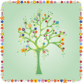 Colorful tree with flowers vector — Stock Vector