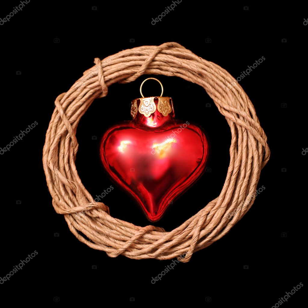 Christmas heart on black background — Stock Photo #9166365