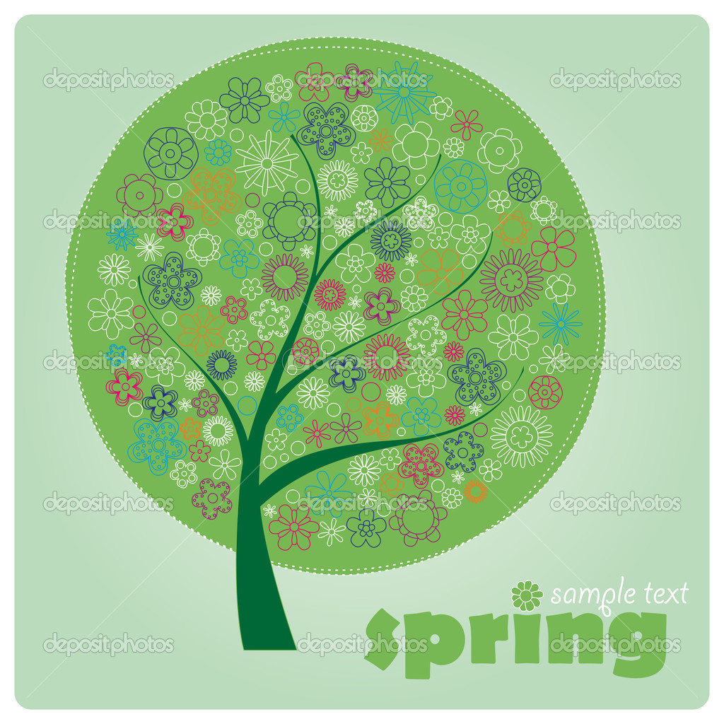 Spring flower tree on green background  Stock Vector #9567087