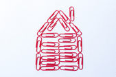 Red paper clips — Stock Photo