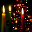 Red, green and yellow candles — Stock Photo #8877568