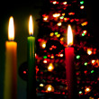 Royalty-Free Stock Photo: Red, green and yellow candles