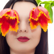 Face of young girl with tulips instead of eyes — Stock Photo #9551923