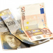 The Swiss francs and euro — Stock Photo