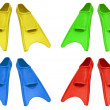 Collage of flippers on white - Stock Photo