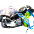 Heap of goggles on white — Stock Photo