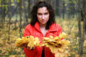 Woman holds autumn leaves — Foto Stock