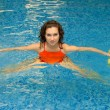 Woman in water with dumbbells - Lizenzfreies Foto