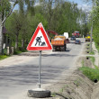 Traffic,warning sign road repairing — Stock Photo