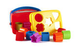 Toy blocks and shapes on a white background — Stock Photo