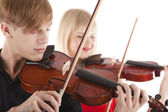 Image of musicians playing violins — Stock Photo