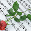 Red Rose and a sheet with notes — Stock Photo