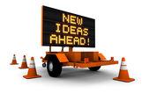 Nieuwe ideeën ahead - wegenbouw ondertekenen — Stockfoto