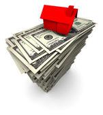 House Sitting on Stack of Hundred Dollar Bills — Stock Photo