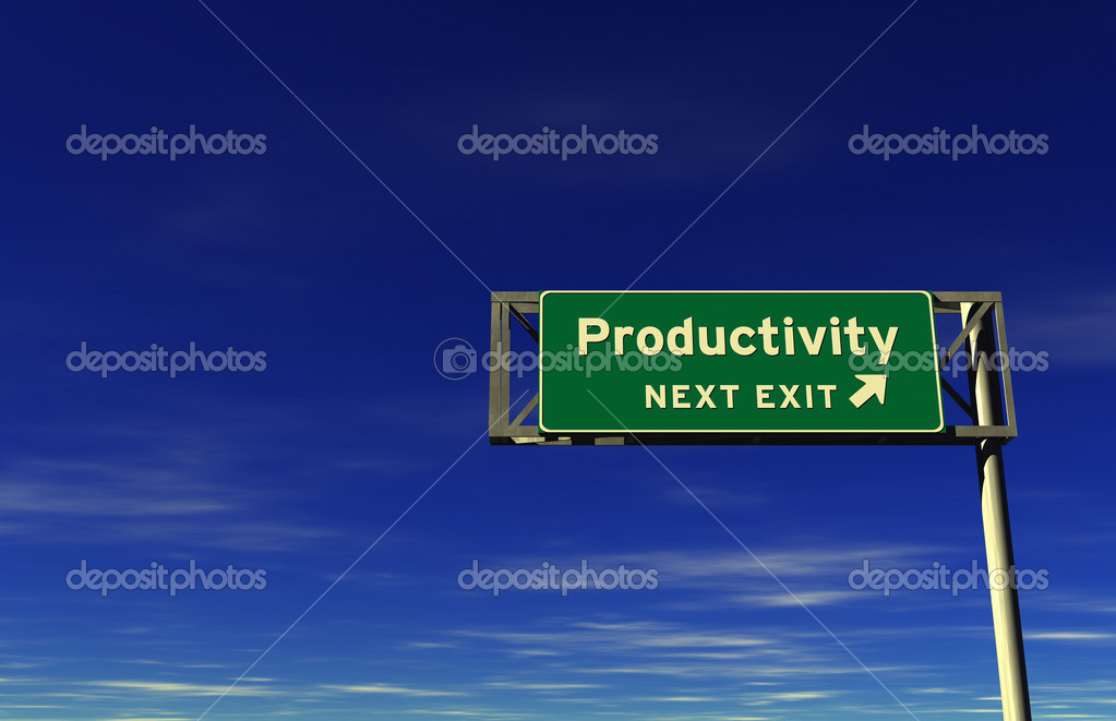 Super high resolution 3D render of freeway sign, next exit... Productivity! — Stock Photo #7966961