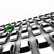 Forty Cars, One Green! — Stock Photo