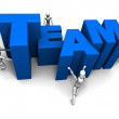 Pushing Together TEAM Blue — Stock Photo