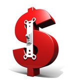 Dollar Symbol Power Switch (Red - On) — Stock Photo