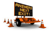 Answers! - Construction Sign Message — Stock Photo