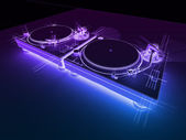 DJ Turntables 3D Neon Sketch — Стоковое фото