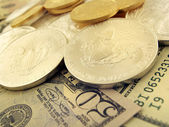 Dollars, Gold and Silver U.S. Money — Stock Photo