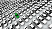 Hundreds of Cars, One Green! — Stock Photo