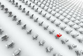Hundreds of Office Chairs, One Red! — Stock Photo