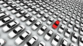 Hundreds of Cars, One Red! — Stock Photo