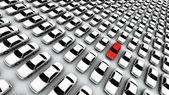 Honderden auto's, een rode! — Stockfoto