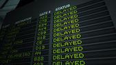 Airport Flight Information Board, Delayed — Stock Photo