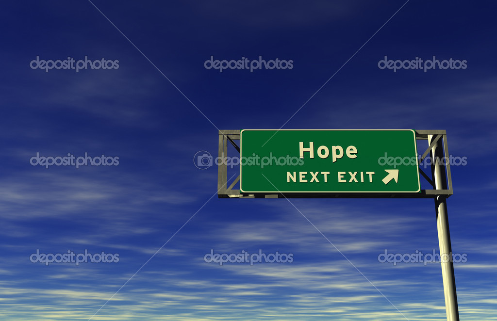 Super high resolution 3D render of freeway sign, next exit... Hope  Stock Photo #7976697