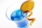 Blue Curacao cocktail isolated on white — Stock Photo