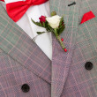 Groom with red bow tie - Stock Photo