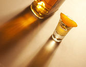 Tequila shot with orange and bottle — Stock Photo