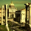 Vintage postcard with Foro Romano - Foto Stock
