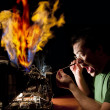 Funny electrician on fire — Stock Photo #8828335