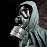 Man wearing gas mask — Stock Photo